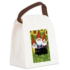 Garden Gnomes & Black Cat Canvas Lunch Bag