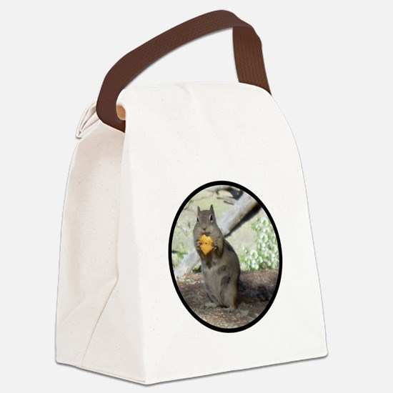 Chipmunk eating a cheez-it Canvas Lunch Bag