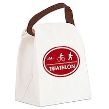 Triathlon Oval Red Canvas Lunch Bag