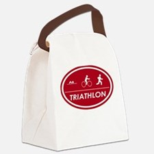 Triathlon Oval Red Canvas Lunch Bag