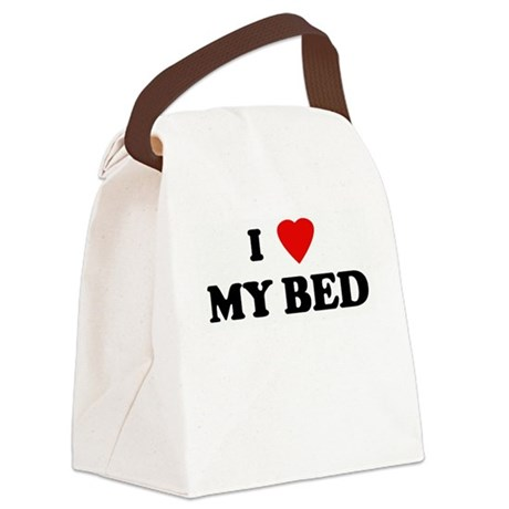 I Love MY BED Canvas Lunch Bag