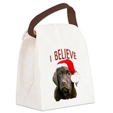 Chocolate Lab Christmas Puppy Canvas Lunch Bag
