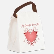 My Godmother Loves Me Heart Canvas Lunch Bag