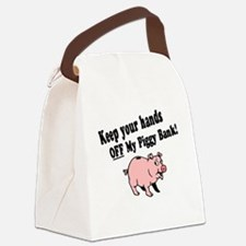 Hands Off Piggy Bank Canvas Lunch Bag