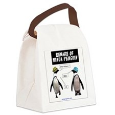 Beware of Ninja Penguin Canvas Lunch Bag