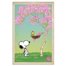 Woodstock in the Cherry Blossoms Large Poster
