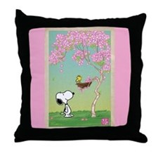Woodstock in the Cherry Blossoms Throw Pillow