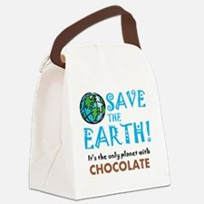 Save the Earth... Chocolate Canvas Lunch Bag