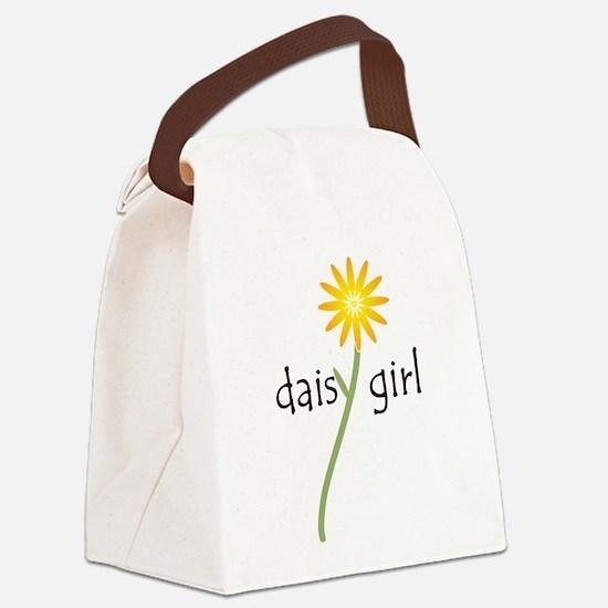 Yellow Daisy Girl Canvas Lunch Bag