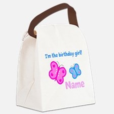 Birthday Girl Butterfly Canvas Lunch Bag