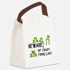 Beware of Crazy Frog Lady Canvas Canvas Lunch Bag