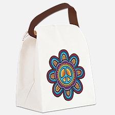 Hippie Peace Flower Canvas Lunch Bag