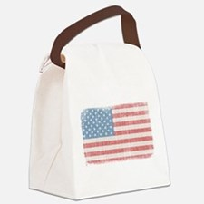 Vintage American Flag Canvas Lunch Bag