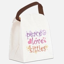 Peace Love Kitties Canvas Lunch Bag
