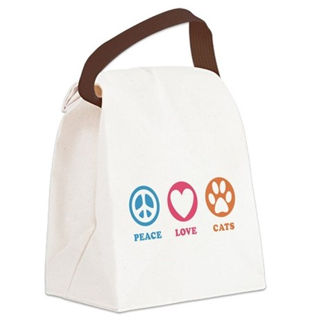 Peace Love Cats [r] Canvas Lunch Bag