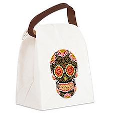 Black Sugar Skull Canvas Lunch Bag