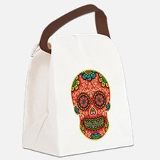 Red Sugar Skull Canvas Lunch Bag