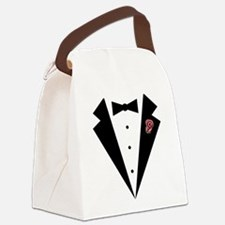 Funny Tuxedo [pink rosebud] Canvas Lunch Bag