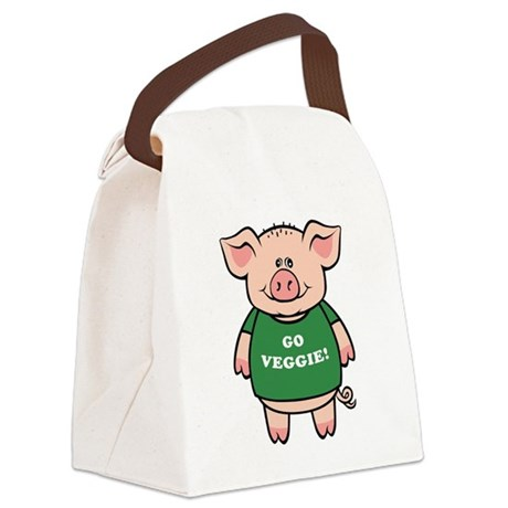 go_veg_pig.png Canvas Lunch Bag