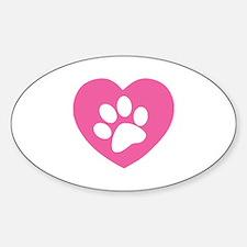 Heart Paw Print Sticker (Oval)
