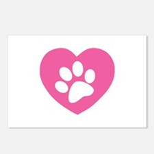 Heart Paw Print Postcards (Package of 8)