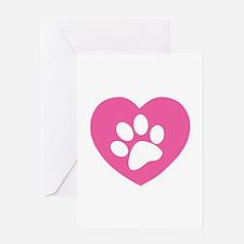 Heart Paw Print Greeting Card