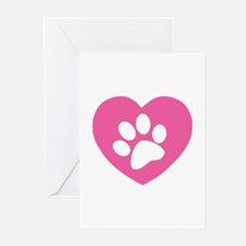 Heart Paw Print Greeting Cards (Pk of 20)