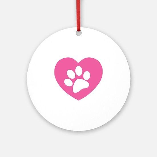 Heart Paw Print Ornament (Round)