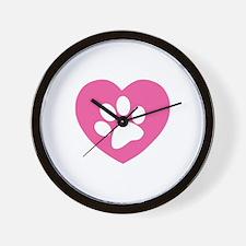 Heart Paw Print Wall Clock