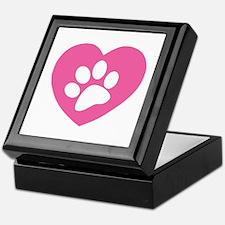 Heart Paw Print Keepsake Box
