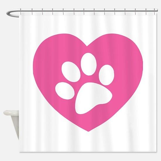 Heart Paw Print Shower Curtain