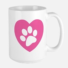 Heart Paw Print Large Mug