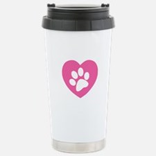Heart Paw Print Stainless Steel Travel Mug