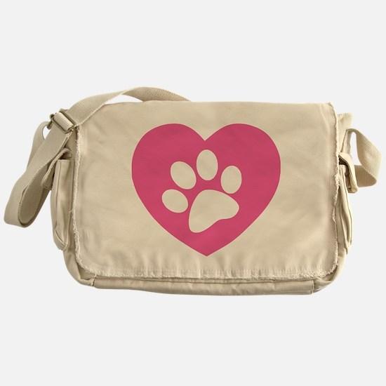 Heart Paw Print Messenger Bag
