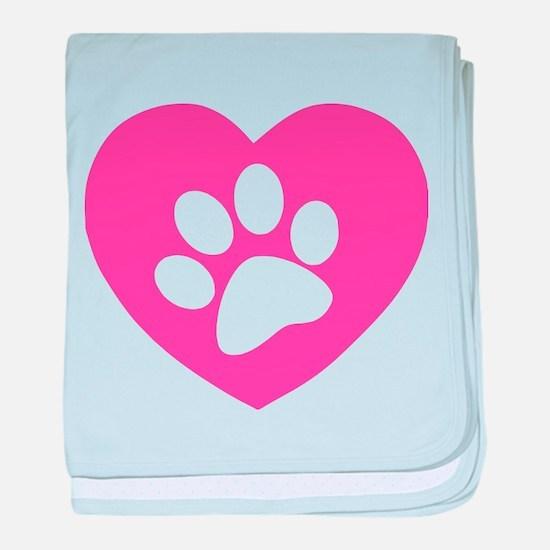 Heart Paw Print baby blanket