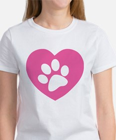 Heart Paw Print Women's T-Shirt