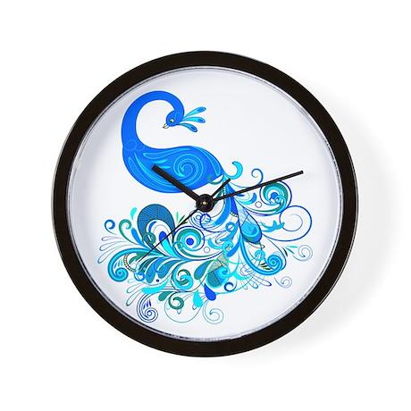 Decorative Peacock ~ Blue Wall Clock