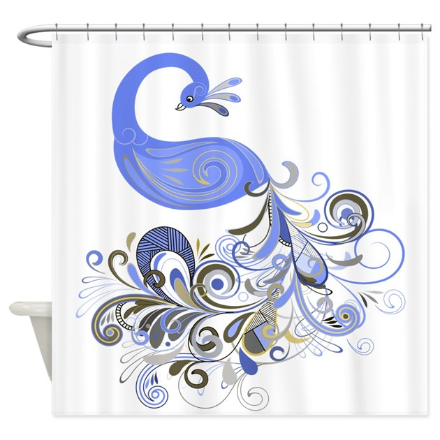 Blue Beige Peacock Shower Curtain By GlamourGirls2