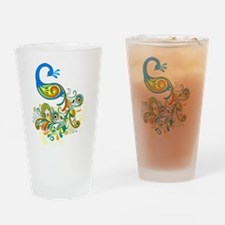 Bright Peacock Drinking Glass