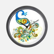 Bright Peacock Wall Clock