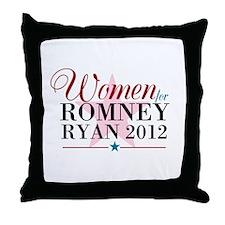Women for Romney Ryan 2012, Pink/Blue Throw Pillow