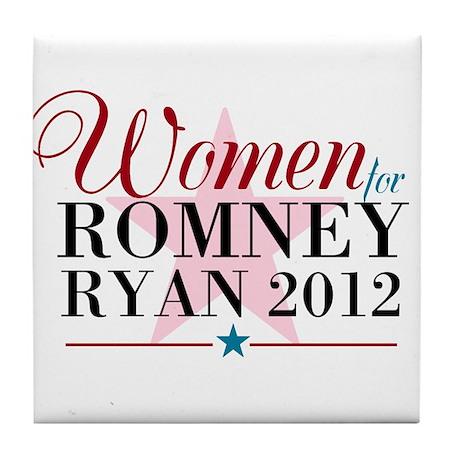 Women for Romney Ryan 2012, Pink/Blue Tile Coaster