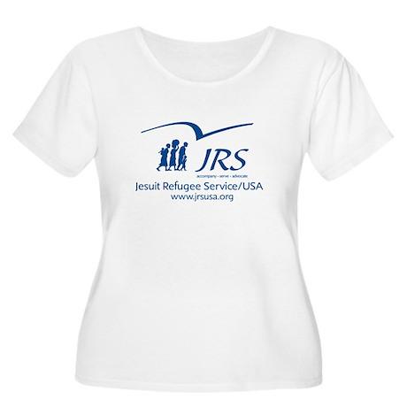 JRSUSA Blue Logo Women's Plus Size Scoop Neck T-Sh