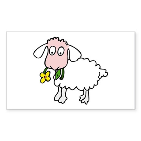 Cute Sheep Sticker (Rectangle)