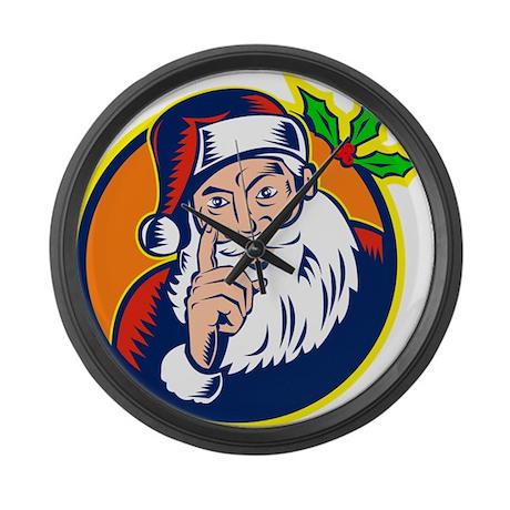 Santa Claus Pointing Finger Retro Large Wall Clock