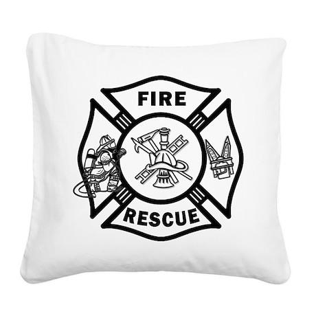 Fire Rescue Square Canvas Pillow