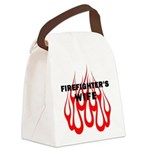 Firefighters Wife Flames Canvas Lunch Bag