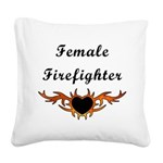 Female Firefighter Tattoo Square Canvas Pillow