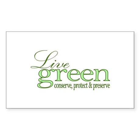 Live Green Rectangle Sticker