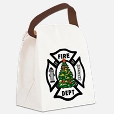 Firefighter Christmas Tree Canvas Lunch Bag